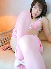 Angelic asian beauty looks adorable in her pink lace lingerie