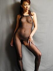 Tomoe Hinatsu in lingerie n black fishnet