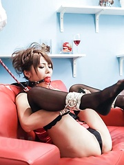 Mei Aso topless with ball in mouth gets many vibrators on pussy