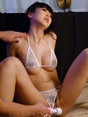 Riisa Minami is fucked with sex toys and gets cum on big hooters