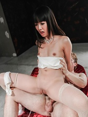 Kotomi Asakura with nasty butt squirts after jumping on joystick