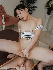 Tsukushi Asian gets cumshot on shaved pussy after sucking tools