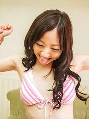 Ayane Okura has vibrators arousing her nipples and hairy pussy