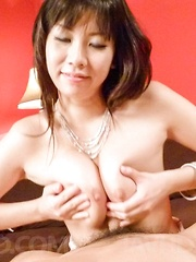 Hina Tokisaka licks dongs and squeezes them between her hooters