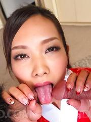 Saki Fujii Asian rides dick under kimono and gets cum in mouth