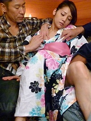 Rei Mizuna is fucked under kimono and gets cum in mouth in 3some