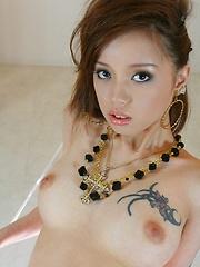 Lina Aishima strips off her black lingerie
