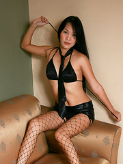 Ryl posing her shaved pussy in black lingerie