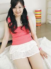 Dark-haired japanese hottie Haruka Nishimori posing in sexy panties