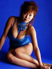 Yoko Matsugane posing in sexy blue bikini