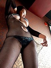 Japanese busty model Hitomi Kitamura posing