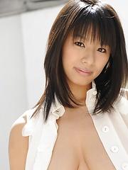 Great asian big tits model Hana Haruna in hot scenario.