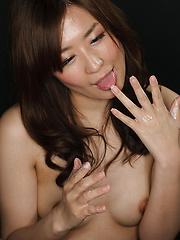 Japanese girl swallows cum