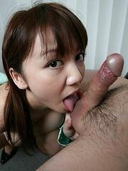 Pretty Meguru Kosaka gives head with deepthroat