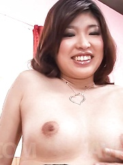 Ai Okada Asian gets phallus between lips and hairy lower lips