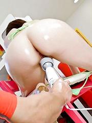 Rina Yuuki Asian has fine ass oiled and gets vibrators on peach