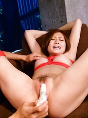 Ruri Haruka Asian with cans in ropes gets vibrators in coochie