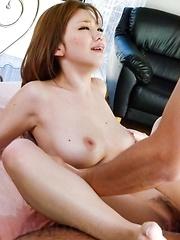 Megu Kamijyou Asian sucks and strokes boner and is fingered