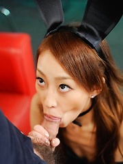 Yuu Kusunoki Asian bunny gets cum in mouth and vibrator on cunt