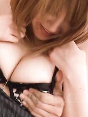 Rika Aina Asian with big round tits rides dick with hairy vagina