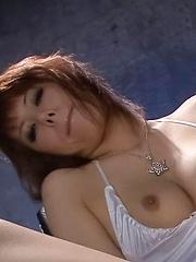 Rui Shiina Asian is aroused with vibrator and fucks with dildo
