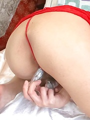 Hikaru Aoyama Asian in red lingerie teases clit with vibrators