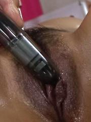 Ren Mizumori Asian is fucked with vibrator and licks phallus well