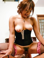 Mei Hitomi Asian with revealed cans sucks dicks and gets vibrator