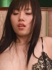 Azusa Nagasawa Asian busty gets cum on face and vibrator on clit