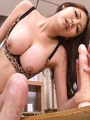 Akari Asagiri Asian rides big dildo after having vibrator on slit