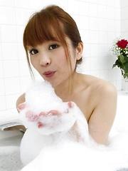 Maomi Nagasawa Asian with soap on boobies sucks and licks dongs
