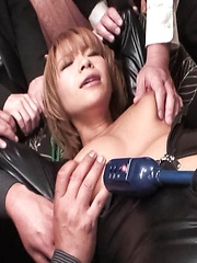 Sumire Matsu Asian gets dildo in slit and vibrators on big assets