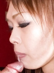 Rina Asian gets cum from sucking and taking cock between her jugs