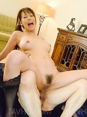 Akari Asagiri Asian has dark slit and asshole filled with sperm