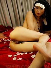 Rio Kagawa Asian nun sucks boner and has asshole and slit fucked