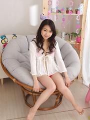 Tomoyo Hoshino Asian in white shirt shows big jugs in red bra