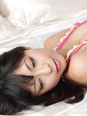 Sakura Sato Asian with big tits in fluffy lingerie is lazy in bed