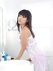 Sakura Sato Asian looks amazing in white lingerie in the morning