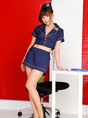 Chihiro Akiha Asian is sexy captain girl in heels and hot uniform