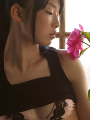 Tomoe Yamanaka Asian in stockings shows nasty behind at window
