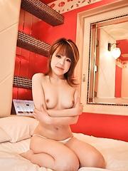 Azusa Miyakawa Asian exposes her pink vagina she fucks with dildo