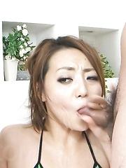 Yuu Shiraishi Asian in green bath suit gets vibrator on vagina