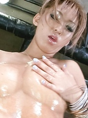 Juri Sawaki Asian rubs her fine and oiled hooters with vibrator