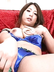 Satomi Suzuki Asian arouses cunt with vibrator on and under panty