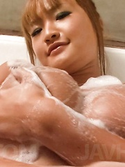 Kurea Mutou Asian pleasures boobs with soap and slit with shower