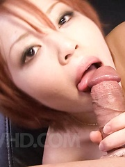 SARA Asian chick has peach rubbed with thong and rides joystick