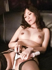 Manami Komukai Asian sucks vibrator she fucks her love box with