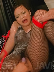 Yuu Haruka Asian is fucked with vibrator in ass through fishnets