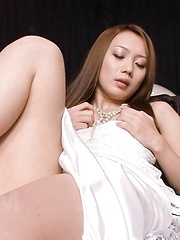 Kazumi Nanase Asian is horny and fucks pink peach with fingers