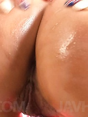 Kurea Mutou Asian with oil on hot body puts vibrator on nooky